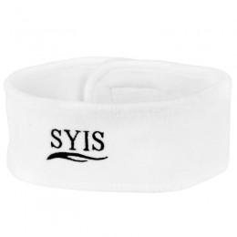 SYIS WHITE VELOR HEADBAND WITH LOGO