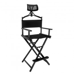 ALUMINUM LOOK MAKEUP CHAIR WITH BLACK HEADREST