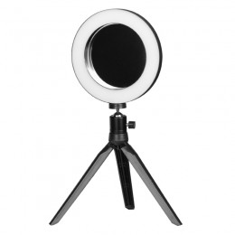 """LED MINI RING LIGHT 6 """"LAMP WITH MIRROR AND STAND FOR PHONE"""